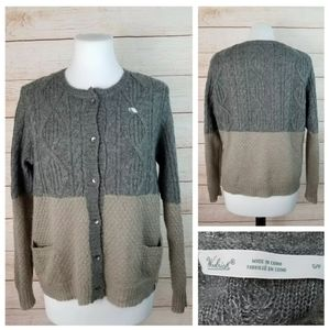 Woolrich S Taupe Gray Wool Blend Cardigan Sweater